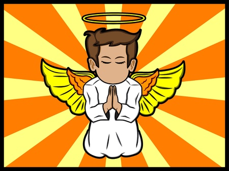 A cartoon illustration of a little angel praying Stock Vector - 18306973