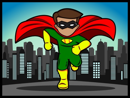 A cartoon of a running little superhero Stock Vector - 18306980