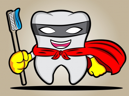toothpaste: A cartoon illustration of a super tooth Illustration