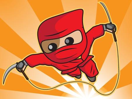 a cartoon illustration of ninja attack Illustration