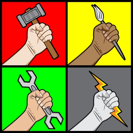 A cartoon illustration of a fists holding a tools
