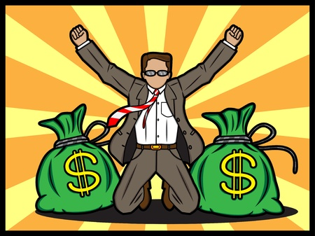 An illustration of a happy businessman gain a lot of money Vector