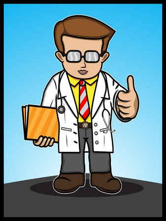 A cartoon illustration of a doctor showing a thumbs up Stock Vector - 18306975