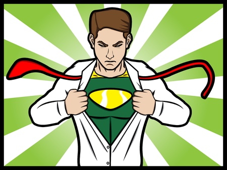A cartoon comic style of a man torn his shirt and transformed into a superhero Vector