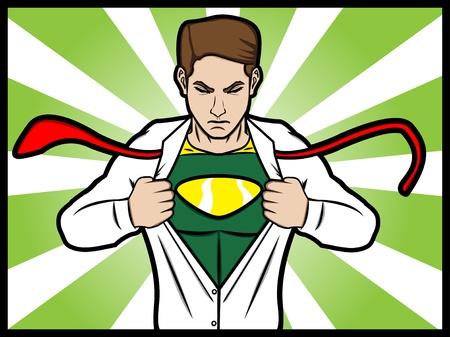 transformed: Un estilo c�mico de un hombre desgarrado su camisa y se transforma en un superh�roe