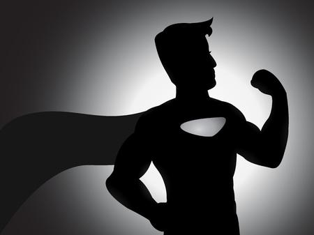 back lit: Una ilustraci�n de la silueta superh�roe poderoso con efectos de sombreado