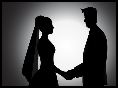 overjoyed: A wedding couple silhouette with shading effects Illustration