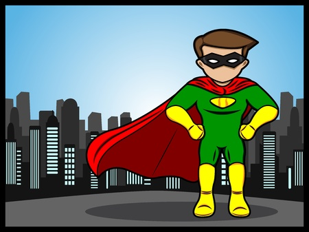 A cartoon of a little superhero defend the city Stock Vector - 19430684