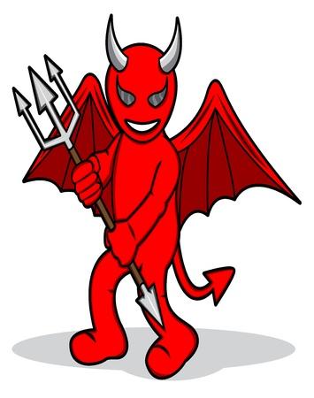 diable rouge: Une illustration de bande dessin�e d'un diable rouge