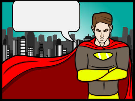 a cartoon illustration of a talking superheroes Vector