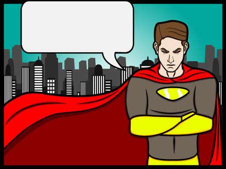 superheroes:  a cartoon illustration of a talking superheroes Illustration