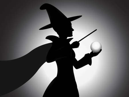 A beautiful witch silhouette vector with shading effect