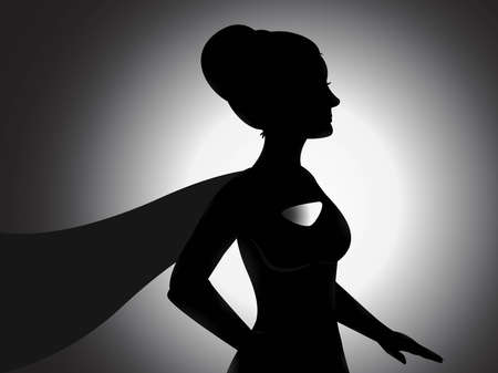 A vector of a supergirl silhouette with shading effects  Illustration