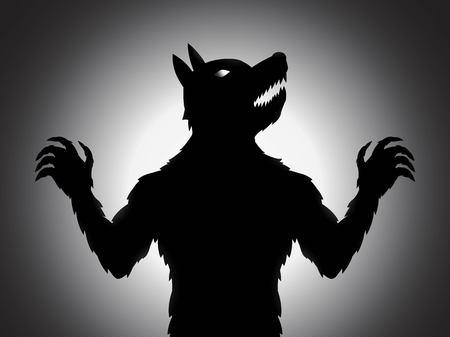 full moon effect: A werewolf silhouette vector with shading effect