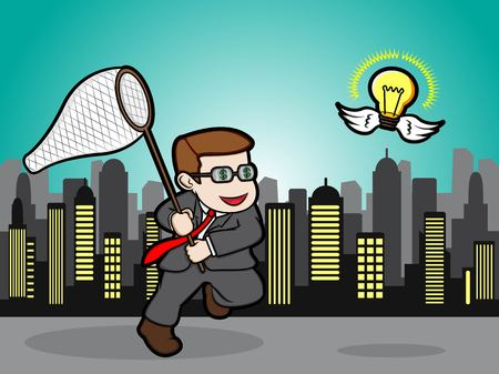 A cartoon illustration of a Businessman trying to catch a shining idea