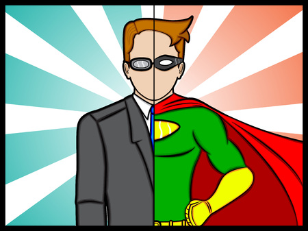 An illustration of a alter ego superhero secret identity