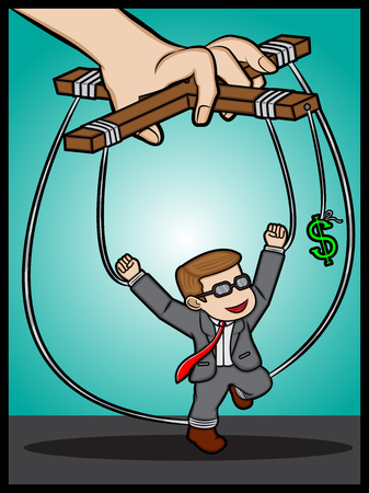 Businessman under money control Illustration