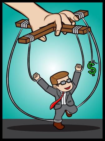 Businessman under money control Illustration