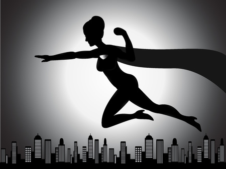 An illustration of a flying superhero girl silhouette with shading effect