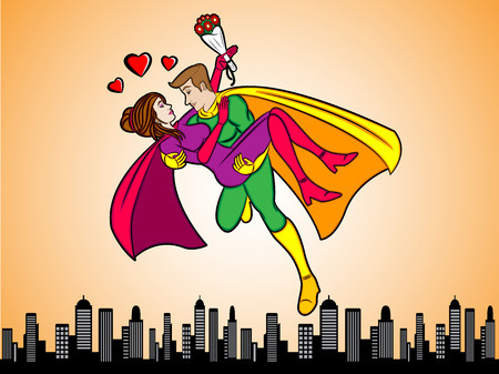 fall in love: A cartoon illustration of a couple super heroes fall in love