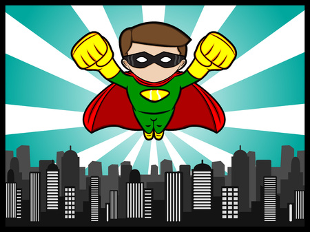 A cartoon illustration of a flying little superhero defend the city