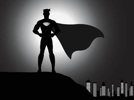 back lit: standing hero silhouette with shading effects