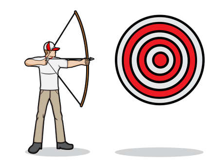 A cartoon illustration of an archer aim a target Illustration