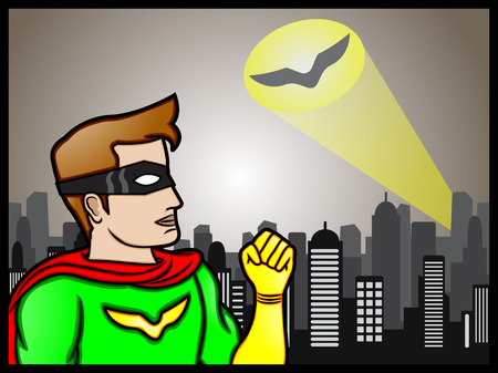 A cartoon illustration of a superhero getting ready to answer a signal for help Illustration