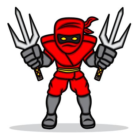 A cartoon illustration of a red ninja