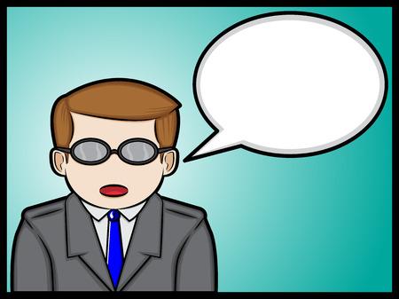 A cartoon illustration of a talking businessman Illustration