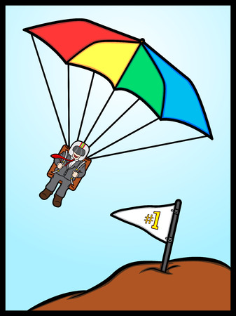 A cartoon illustration of a businessman reach the target Vector