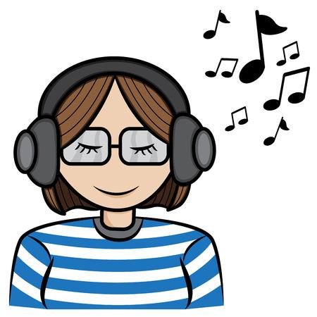 music listening: a cartoon illustrator of a girl listening music