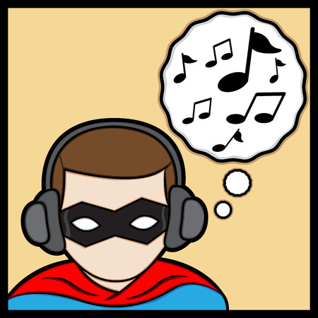 strong men: a cartoon illustrator of a superhero listening music Illustration