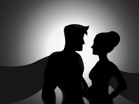 couple lit: Illustration of a couple hero silhouette