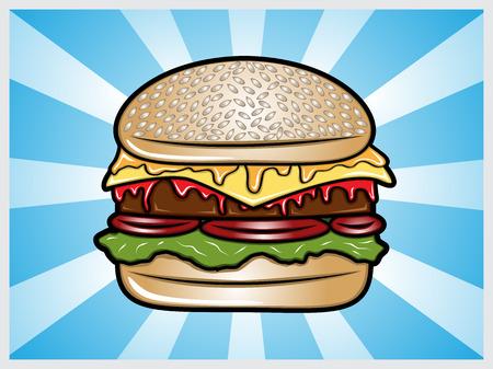 Cartoon illustration of a hamburger Vector Illustration