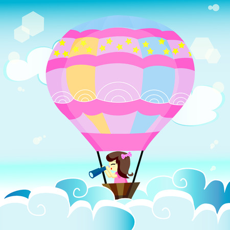 windy day: a girl with her balloon discover something new Illustration