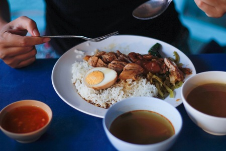 Slow cooked pork leg with steamed rice. With egg. And soups.
