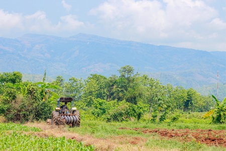 Preparing soil for plant With tractor