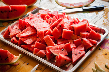 sliced watermelon ready to eat Standard-Bild