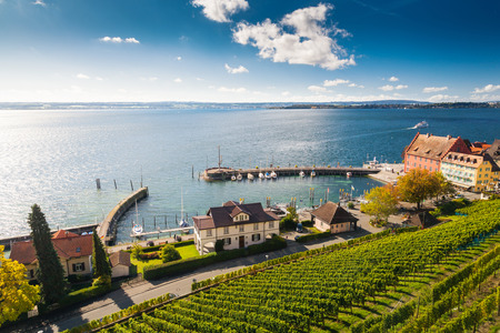 pier view of Meersburg city in Germany Standard-Bild