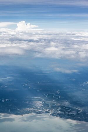 aerial view of river landscape and cloud over Thailand