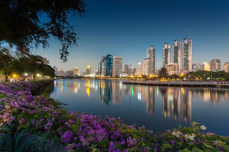 Nacht-Landschaft von Benjakiti Park in Bangkok Standard-Bild - 39503630