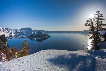 crater lake: Early morning at Crater Lake national park with Wizard island