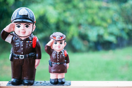 policewoman: Police doll uniform Thailand for background Stock Photo
