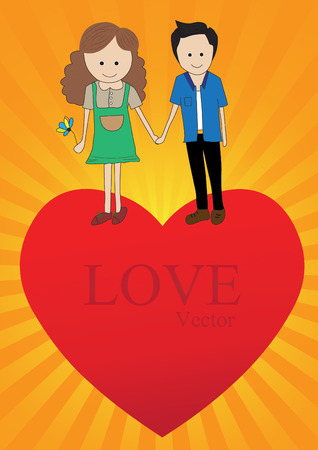 sweet love: Sweet love boy and  girl on heart. Illustration