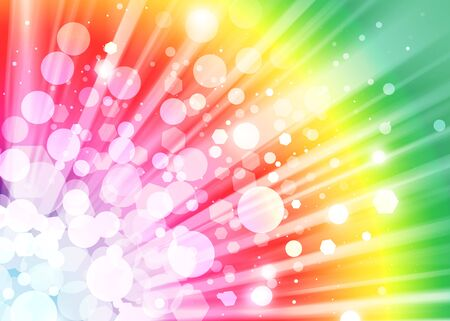 bright colors: Colorful ray lights bokeh glitter defocused abstract background Stock Photo