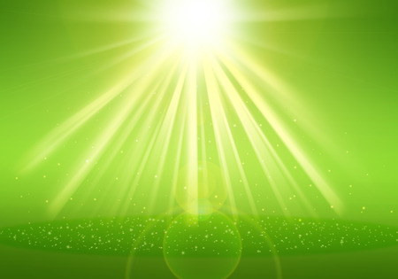 ray of lights: Green ray lights glitter defocused abstract background Stock Photo