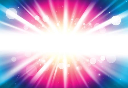 Roze en blauw centrum ray lichten bokeh glitter onscherpe achtergrond Stockfoto