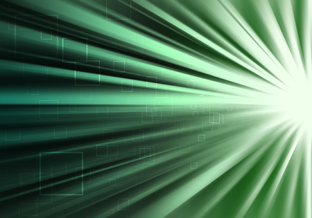 ray of lights: Green ray lights technology defocused abstract background. Stock Photo