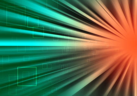 ray of lights: Green and Orange  ray lights technology defocused abstract background.